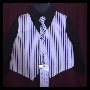 andrew fezza Other - infant pin stripe vest, tie & black colored shirt
