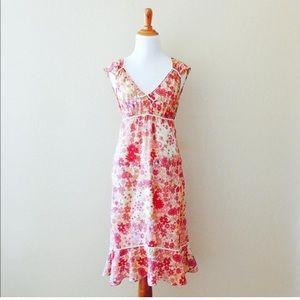 Vintage Dresses & Skirts - Vintage Floral Ruffle Midi Dress