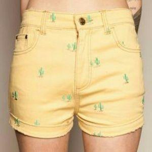 Drop Dead Pants - Drop Dead yellow cactus shorts