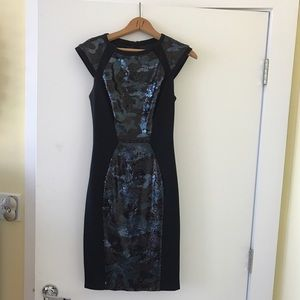 Baker by Ted Baker Dresses & Skirts - Ted baker black with blue camo dress size 0