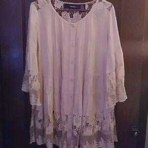 Tops - Pale Blush Lace Tunic