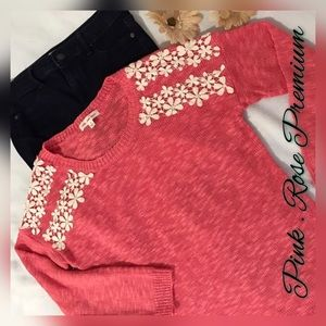 Pink Rose Sweaters - Pink Rose floral design sweater