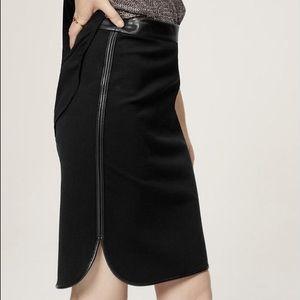 LOFT Dresses & Skirts - LOFT Black Faux Leather Trim Shirttail Skirt