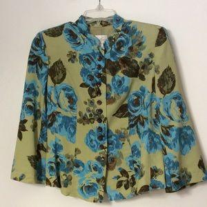 Emma James Tops - Floral Button front Blouse Pleated Back Hem NWOT