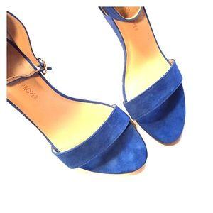 Boston Proper Shoes - Boston Proper blue leather wedges