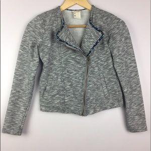 Matilda Jane Jackets & Blazers - Matilda Jane Cropped Moto Jacket Floral Trim