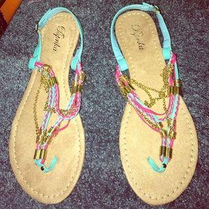 Paprika Shoes - Paprika Blue Pink Gold Chain Sandals