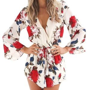 Pants - Women's Flare Sleeve Floral Faux Wrap Loose Romper