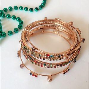 Gold Tone Multicolor Bangle Bracelet set