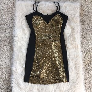 Brand new gold sequined body on dress