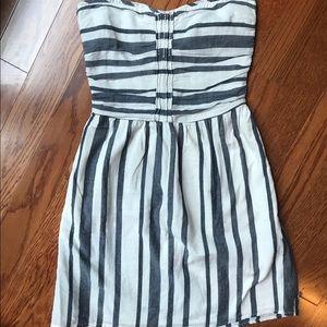 Gap Chambray Striped Strapless Dress