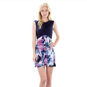 The Blossom Apparel Dresses & Skirts - 🆕 Floral Print Trapeze Dress-Navy