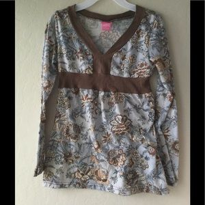 Angels Other - Kid's brown and blue flower print blouse
