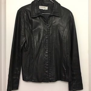 Calvin Klein Black 100% Leather Jacket