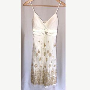 Taboo Dresses & Skirts - Ivory Sheer Gold Sequin Beaded Dress