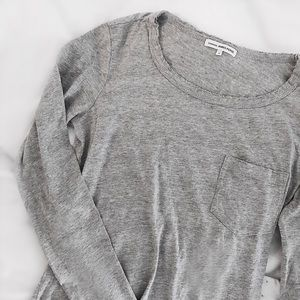 James Perse Tops - James Perse Distressed Long-Sleeve Pocket Tee