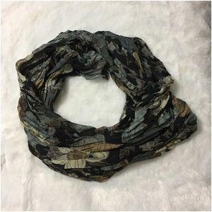 Black brown grey floral scarf