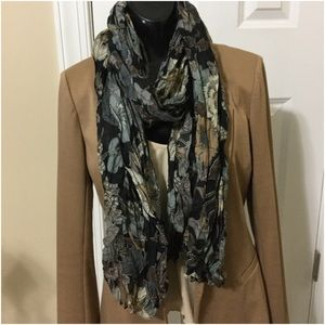 Black brown grey floral scarf