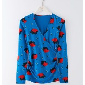 Anthropologie Tops - Boden Blue Floral Long Sleeve Wrap Jersey Top