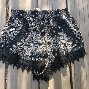 Flowy Black and White Shorts