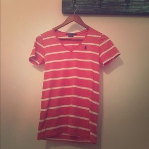 Coral stripped polo T-shirt.