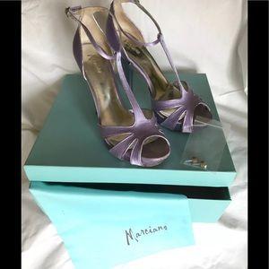 Lilac/Lavender Marciano platform satin strappy