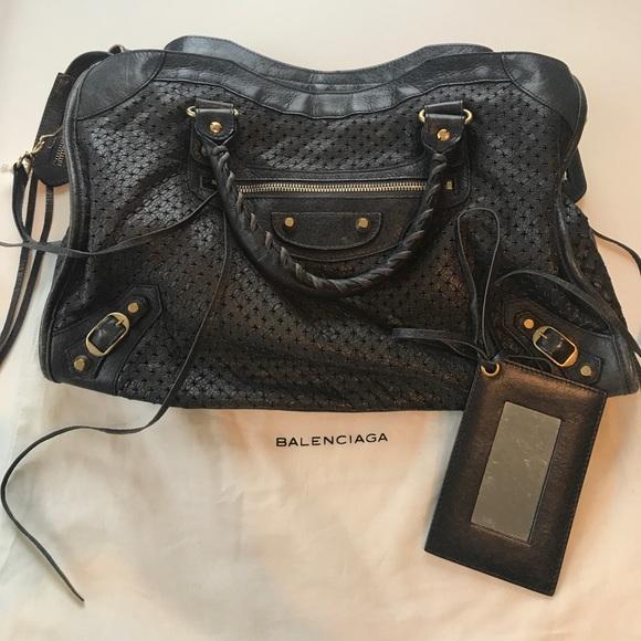 bdbe458309b4 Balenciaga Handbags - Perforated Balenciaga city bag in Anthracite