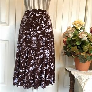 Laura Ashley Dresses & Skirts - LAURA ASHLEY Brown & White Floral Skirt