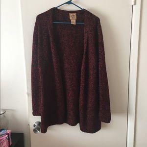 Ami Sweaters - Heathered Burgundy Open Cardigan