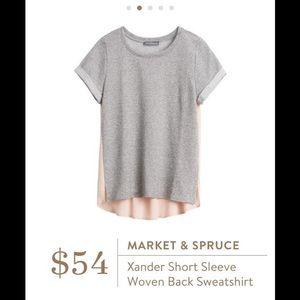 Market & Spruce Tops - Short Sleeve Woven Back Shirt Market & Spruce pink