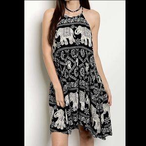 Elephant Print Halter Swing Dress  rayon hi lo hem
