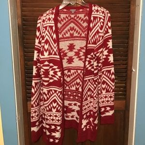 Red & White Aztec Sweater