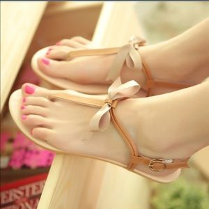 Orange bow sandals