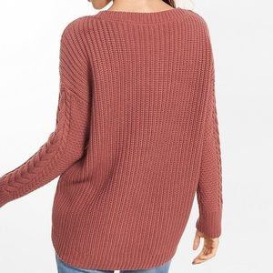 Express Sweaters - Express Lace-Up Inset Cable Knit Sweater 312e84122