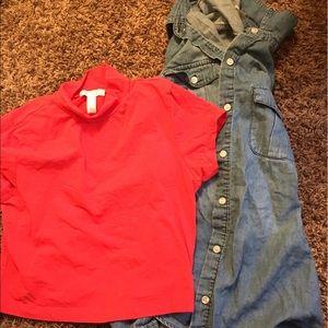 Jean bottom up shirt and orange crop top