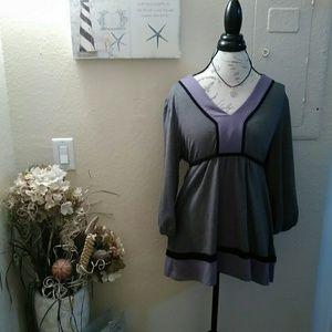 APT 9 Purple & Grey Long Sleeved Shirt