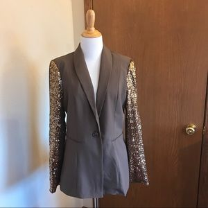 NWT Cecico Brown and Gold Sequin Blazer