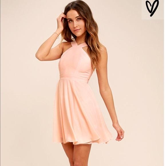 0a5635792a Lulu s Forevermore Peach Skater Dress