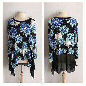 Sunny Leigh Tops - Sunny Leigh floral sharkbite tunic
