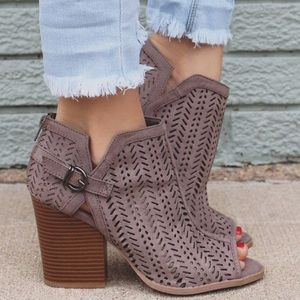 Taupe Cut Out Booties. Limited Stock!