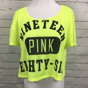 VS Victoria's Secret pink yellow cropped jersey