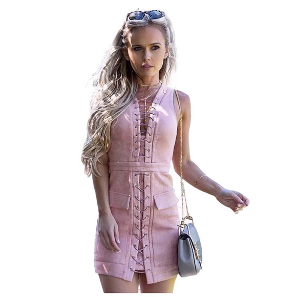 Pink Microfiber Faux Suede Lace Up Dress D9 Boutique