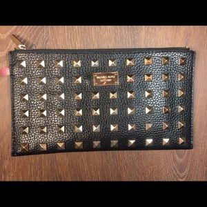 Michael Kors Handbags - Michael Kors Gold Studded Black Leather Clutch