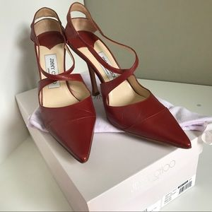 Jimmy Choo Red Leather Heels 37