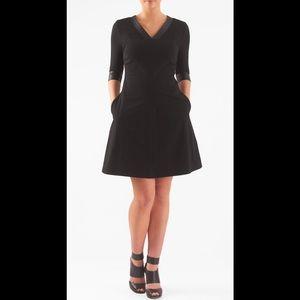 eshakti Dresses & Skirts - New Eshakti Black A-line Faux Leather Dress M 10