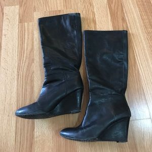 Black Leather Banana Republic Wedge Boots Size 6.5