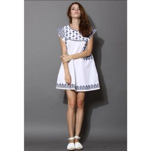 Ceramic Blue Cross-Stitch Babydoll Dress