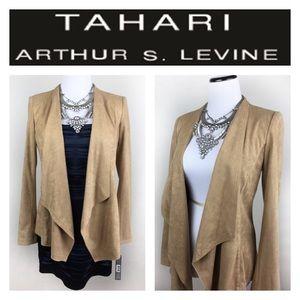 Tahari Jackets & Blazers - TAHARI ARTHUR LEVINE SUEDE LIKE TAN JACKET SZ4