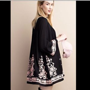 Dress Embroidered Floral Bell Sleeves swingy