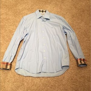 Men's Burberry Button Down Shirt Light Blue XL